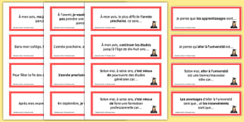 Education Post-16 Prompt Cards French - Conversation, Speaking, Éducation, Studies, Études, College, Lycée, Baccalauréat, A levels, Exams, Examens, University, Université, Apprenticeship, Apprentissage