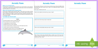 Acrostic Poem Writing Template - Literacy, examining literature, english, poetry, writing, poems, poetry, acrostic poems, australian