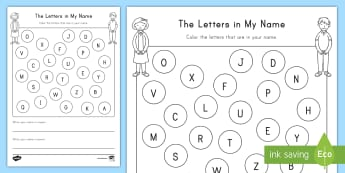 The Letters in My Name Activity Sheet - Name Practice, Writing, Alphabet, Letters, ELA, Pre-K, Letter Recognition