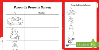 CfE Early Level Favourite Presents Survey Activity Sheet - data handling, questionnaire, maths, christmas, number, worksheet