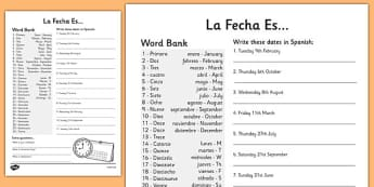 Spanish Date Writing Worksheet - worksheets, dates, Spain, write
