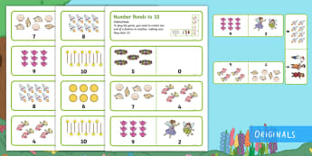 Treasures in the Garden Number Bonds to 10 Dominoes - match, pair, total 10, pictorial representation, add