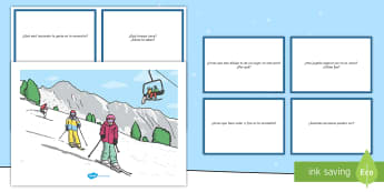 Tarjetas de preguntas: Escena de deportes de invierno  - tarjetas, preguntas, comprensión, leer, lectura, invierno, invernal, deporte, deportes, escena,Span