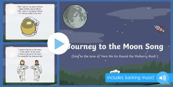 Journey to the Moon Song PowerPoint  - EYFS, Early Years, space, rocket, moon, stars