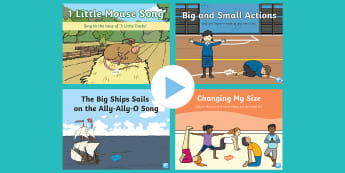 Big and Little Songs and Rhymes PowerPoints Pack - Positional, Prepositions, Baby Room, Under 2, prepositions, size, small, large, comparison, compare,