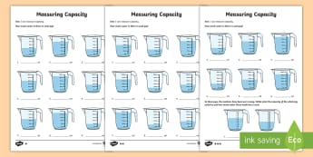 Year 3 Measure Capacity Differentiated Activity Sheets - KS2 Capacity resources, measure, compare, add and subtract capacity ks2, key stage 2, year 3, y3