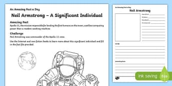 Neil Armstrong – A Significant Individual Worksheet / Activity Sheet, worksheet