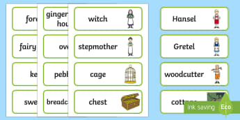 Hansel and Gretel Word Cards - Hansel and Gretel, Brothers Grimm, witch, Hansel, Gretel, gingerbread house, fairytale, traditional tale, woodcutter, forest, story, story sequencing, story resources, Word cards, Word Card, flashcard, flashcards,
