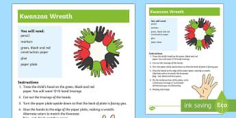 Kwanzaa Wreath Craft Instructions - Kwanzaa, tradition, African American, heritage,