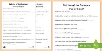 Deirdre of the Sorrows True or False? Activity Sheet - ROI, reading, history, myths, legends, history, Worksheet, reading, english, Irish history, true or