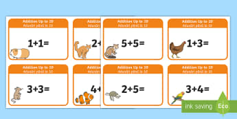 Addition up to 10 Cards English/Romanian - Addition up to 10 Cards - addition, cards, 10, up to 10, add, +, adition, additon, EAL
