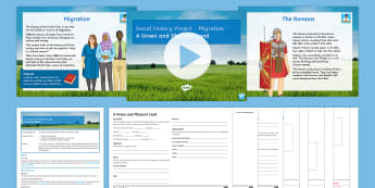 Social History Project Lesson 1: A Green and Pleasant Land Lesson Pack - Migration, Celts, Romans, Caesar, Resources, Agriculture, Iron-age