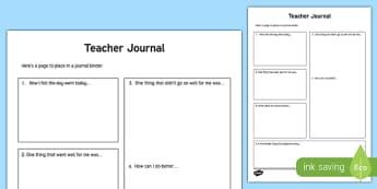 Teacher Journal Activity Sheet, worksheet