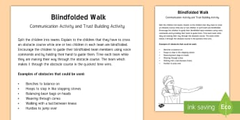 Blindfolded Walk Team Building Game - gym, pe, trust, activity, team, teamwork, communication,Scottish