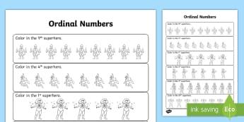 Superhero Ordinal Numbers Activity Sheet  - ordinal, numbers, worksheet, number, worksheet