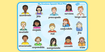 Emotions Word Card Spanish - language, Spain, emotion, visuals