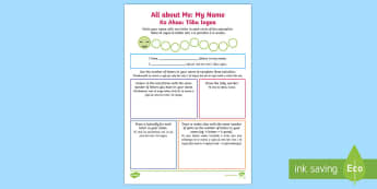 My Name Back to School Activity Sheet Te Reo Māori/English - My Name, Back to School, Activity Sheet, Maths, Pāngarau, Te Reo Māori, worksheet