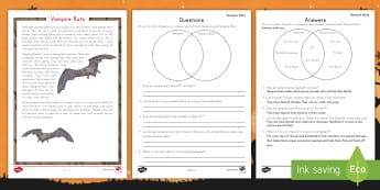 Vampire Bat Reading Activity -  Halloween, Reading Comprehension, non-fiction, reading response,