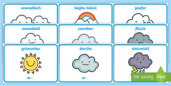 Weather Words Display Posters Gaeilge - aimsir, gaeilge, irish, vocabulary, focail, Irish