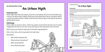 An Urban Myth Activity Sheet, worksheet