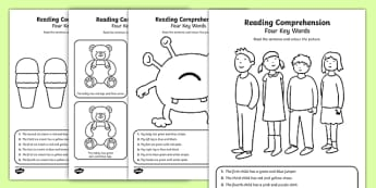 Reading Comprehension - Four Key Words Worksheet / Activity Sheet Pack, worksheet