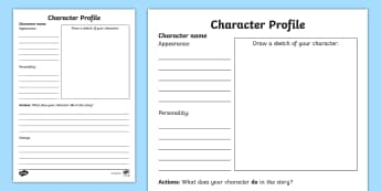 Character Profile Writing Template - characters, writing, worksheet / activity sheet, worksheet, description, actions, feelings, appearance
