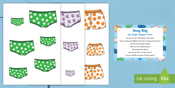 Big, Bigger, Biggest Pants Busy Bag Prompt Card and Resource Pack - Aliens Love Underpants, Claire Freedman, space, size ordering, length, height