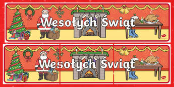 Merry Christmas Display Banner Polish - polish, merry christmas, display banner, banner, banner for display, classroom display, header, display header, themed banner