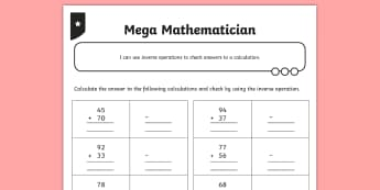 Using the Inverse Operation for Addition and Subtraction Two-Digit Number Calculations Activity Sheet - opposite, inverse, reverses, calculation, operation, take, take-away, less, minus, subtract, differe