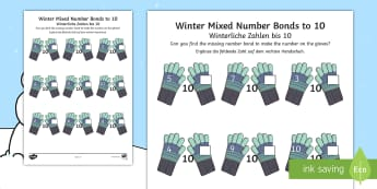 Winter-Themed Mixed Number Bonds to 10 Worksheet / Activity Sheet English/German - EAL, German, Winter, snow, Christmas, mittens, addition, number bonds to 10, worksheet, activity she