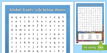 Global Goals: Life Below Water Word Search - Learning For Sustainability, UNICEF, GG14, fish,  marine life,Scottish, environment, global citizen