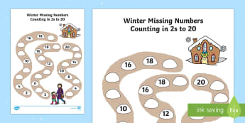 Winter Path Missing Numbers Counting in 2s to 20 Activity Sheet