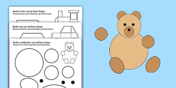 Shape Building Activity Sheet English/Polish - Shape Building Worksheet - shapes, shape, build, maths, numeracy, shpes, numracy, shaoe, matsh, Poli