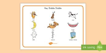 Hey Diddle Diddle Word Mat - nursery rhyme, nursery word mat, nursery rhyme vocabulary, Sequencing