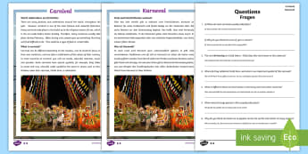 KS2 Carnival Differentiated Reading Comprehension Activity English/German - Read, Fasching, lent, EAL, German, English-German,,German-translation