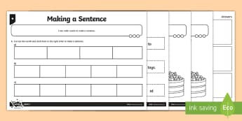 Making a Sentence Differentiated Activity Sheet Pack - GPS, punctuation, word order, capital letter, full stop, finger spaces, worksheet