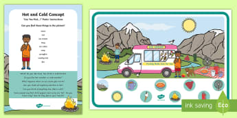 Hot and Cold Concept Can You Find...? Poster and Prompt Card Pack - early concepts, heat, ice, i spy, temperature, early years