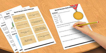 Special Olympics Maths Challenge Activity Sheet Pack - olympics, worksheet