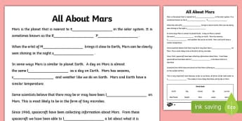 Mars Differentiated Cloze Activity - mars, space, planets, universe, science, astronauts, life, water, news, reading, comprehension