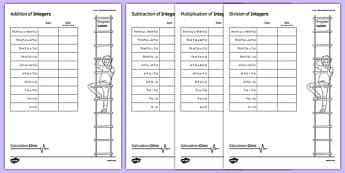 Calculation Clinic Student Self-Assessment Record Integers - KS3, KS4, GCSE, Maths, calculation, addition, subtraction, multiplication, division, low ability, practise, assessment