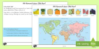 Wo kommt dein Obst her? Arbeitsblatt - Wo Kommt dein Obst her Arbeitsblatt, Obst Arbeitsblatt, Obst, Früchte, Weltkarte, Sachkunde, Geogra