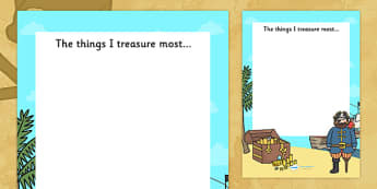 The Things I Treasure Pirate Writing Frame - pirate writing frame, pirates, pirate, the things I treasure writing frame, pirate theme writing, writing