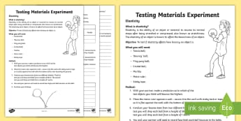 Testing Materials Elasticity Experiment Activity - Australia YR 3 and 4 Design Technology, bounce, elasticity, bounce experiment, testing materials, te