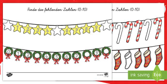 Weihnachtliches Zahlensuchen Arbeitsblätter-German - Weihnachten, Dezember, Advent, Mathe, Zahlen, zählen,,German