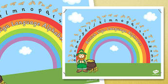 Phase 1 British Sign Language Fingerspell Rainbow Display Poster