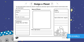 Design Your Own Planet Activity Sheet - Back to Earth with a Bump, space, planets, night and day, dark, sun, Mars, moon, stories, picture bo