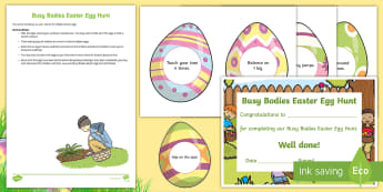 Busy Bodies Easter Egg Hunt Resource Pack - Easter, Easter Egg Hunt, Easter Bunny, Spring, April, Festivals, Christianity, Physical development,