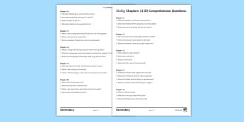 Chapters 11-20 Comprehension Questions Activity Sheet to Support Teaching On 'Skellig' by David Almond - Skellig, David Almond, Guided Reading, Literacy, Literature, comprehension, worksheet