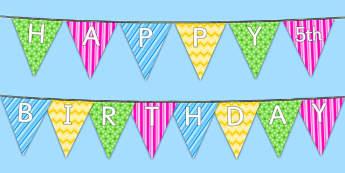 Happy 5th Birthday Bunting - 5th birthday party, 5th birthday, birthday party,