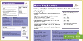 How to Play Rounders Adult Guidance - pe, bowling, batting, fielding, cricket, team, game, wicket